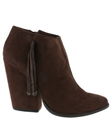 Utopia Mock Suede Pistol Boots Brown