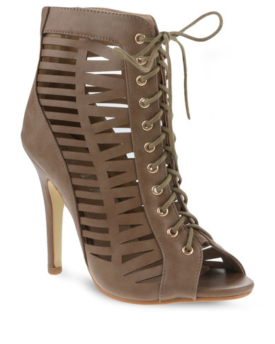 Utopia Cut-Out Lace-Up Heels Taupe