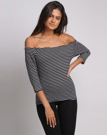 Utopia Off The Shoulder Tee Black And White Stripe