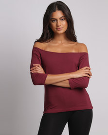 Utopia Off The Shoulder Tee Burgundy