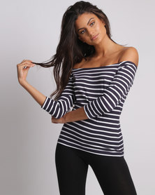 Utopia Off The Shoulder Tee Navy And White Stripe