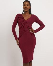 Utopia Mock Wrap Bodycon Dress Burgundy