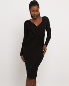 Utopia Mock Wrap Bodycon Dress Black