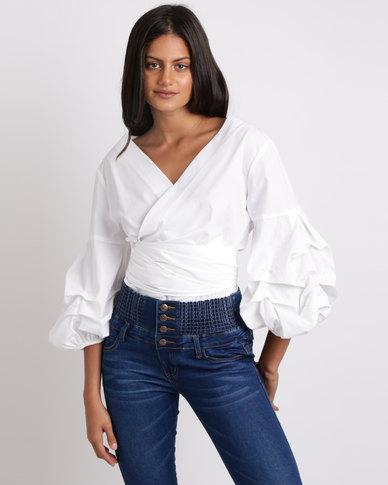 Utopia Puff Sleeve Wrap Shirt White