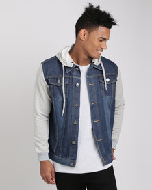 Utopia Men's Denim Jacket With Sweatshirt Sleeves And Detachable Hood Blue