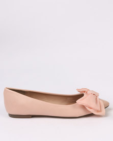 Utopia Chiffon Pointy Pumps Nude