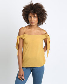 Utopia Cold Shoulder Cami Top Mustard