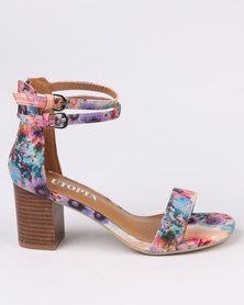 Utopia Printed Block Heel Sandals Purple Print