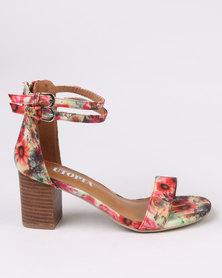 Utopia Printed Block Heel Sandals Red Print