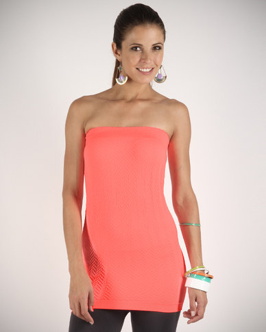 Utopia Long Strapless Top Neon Pink
