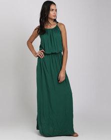 Utopia Viscose Halter Neck Maxi Dress Green