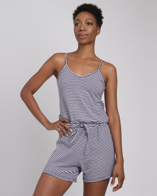 Utopia Stripe Knit Playsuit Navy/White