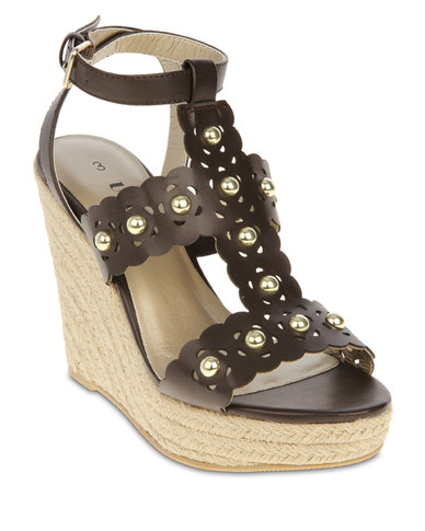 Utopia Studded Wedge Sandals Brown