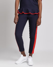 Utopia Tapered Pull On Pants With Racing Stripes Navy
