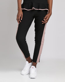 Utopia Tapered Pull On Pants With Racing Stripes Black