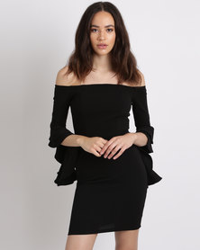 Utopia Crepe Knit Off Shoulder Ruffle Sleeve Dress Black