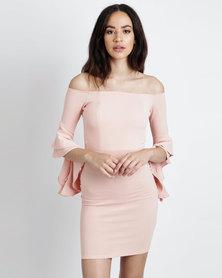 Utopia Crepe Knit Off Shoulder Ruffle Sleeve Dress Nude Pink
