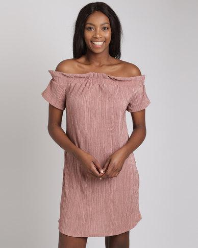 Utopia Plisse Bardot Dress Pink