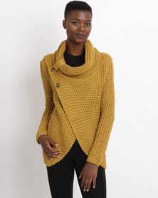 Utopia Wrap Knitwear Jumper With Cowl Neck Mustard