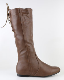Utopia Stitch Knee High Boot Brown