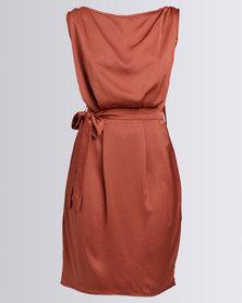 Utopia Sateen Shift Dress With Belt Rust