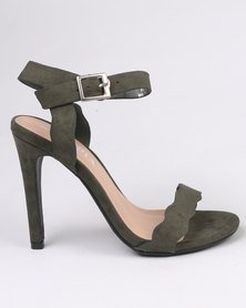 Utopia Scallop Barely There Heel Olive