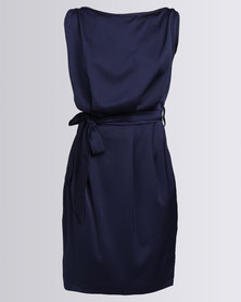 Utopia Sateen Shift Dress With Belt Navy
