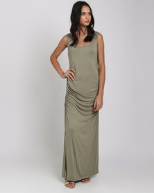 Utopia Ruched Maxi Dress With Slit Olive