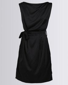 Utopia Sateen Shift Dress With Belt Black