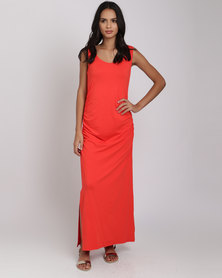 Utopia Ruched Maxi Dress With Slit Red