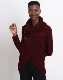 Utopia Wrap Knitwear Jumper With Cowl Neck Burgundy