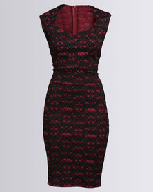 Utopia Lace Bodycon Dress Burgundy