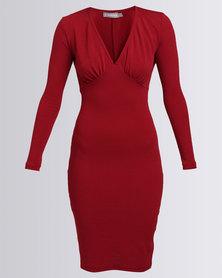 Utopia Interest Ponti V-Neck Bodycon Dress Red