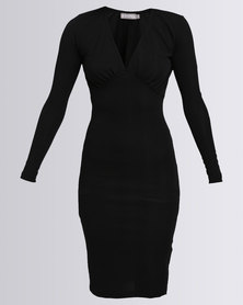 Utopia Interest Ponti V-Neck Bodycon Dress Black