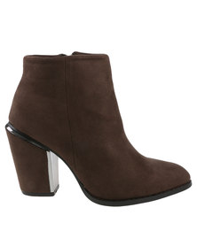 Utopia Pointed Stack Heel Boots Brown