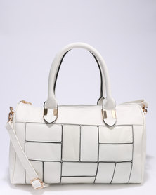Utopia Patch Barrel Bag White