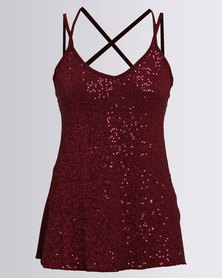 Utopia Sequin Cami Red