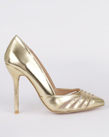 Utopia Cut Out Court Heels Gold