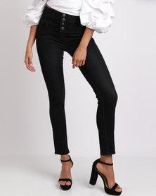 Utopia High Waisted Skinny Jeans Black