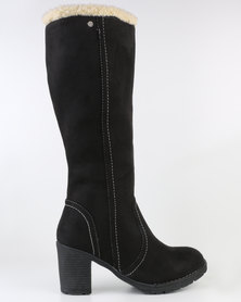 Utopia Suede Fur Knee High Boot Black