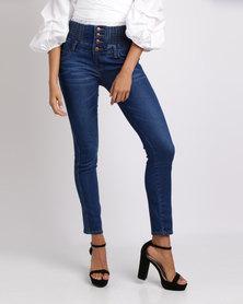 Utopia High Waisted Skinny Jeans Blue
