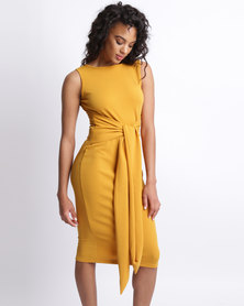 Utopia Tie Front Dress Mustard