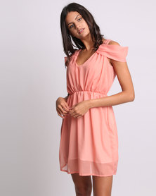 Utopia Chiffon Cold Shoulder Dress Coral