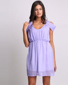 Utopia Chiffon Cold Shoulder Dress Lilac