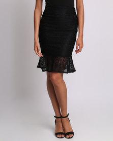 Utopia Mermaid Ruffle Lace Skirt Black