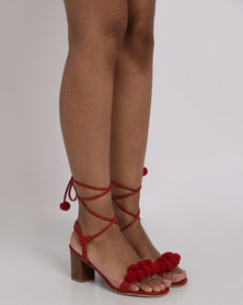 Utopia Pom Block Heel Sandal Red