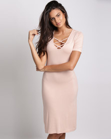 Utopia  Lace Detail T-Shirt Dress Nude Pink