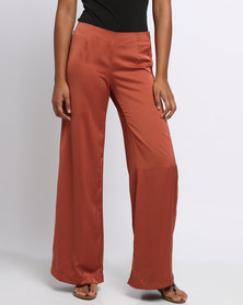 Utopia Sheen Wide Leg Pants Rust