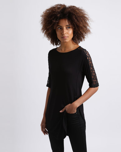 Utopia Tulip Hem Tee With Lace Inset Black