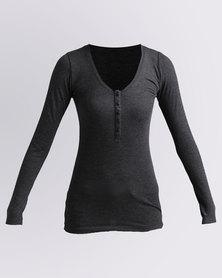 Utopia Rib Henley T-Shirt Charcoal
